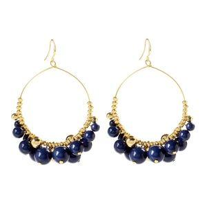 Navy Blue Lapis & Goldtone Gypsy Hoop Drop Earring